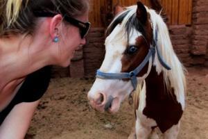 Fasziniert betrachtet Martina Hirschmeier die blauen Augen des Pferdes.