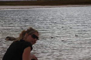 Eine Seltenheit: Frau Schlaumeier findet Wasservögel in einem Salzsee in der Atacama-Wüste.